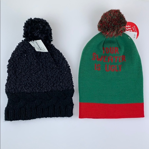 096f2bedf21 Two Beanies One Black and One Green. NWT. Cejon